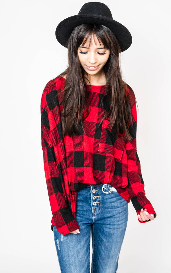 At the Lodge Buffalo Plaid Top | FINAL SALE, CLOTHING, White Birch, BAD HABIT BOUTIQUE