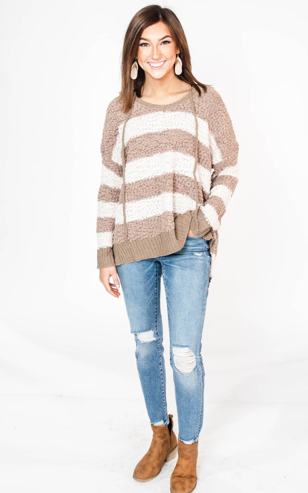 Striped Popcorn Hoodie - Miracle, CLOTHING, MIRACLE, BAD HABIT BOUTIQUE