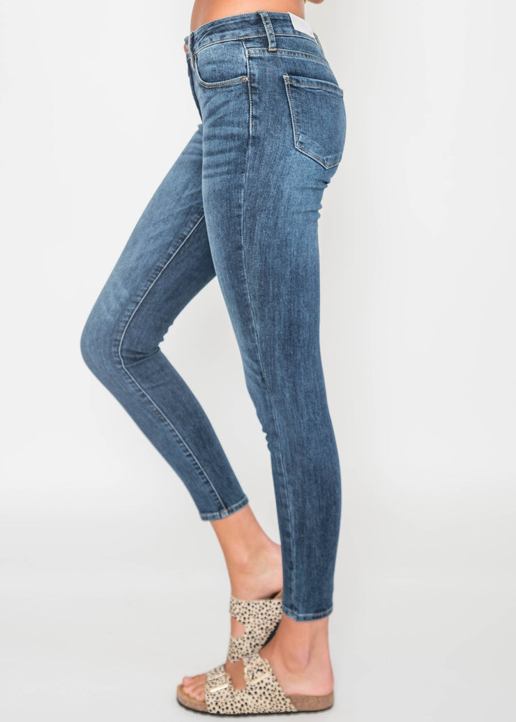High Waisted Dark Denim Skinny, CLOTHING, JUST USA, BAD HABIT BOUTIQUE