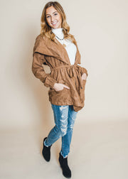 hooded brown tied jacket, suede jacket, HyFve, jackets
