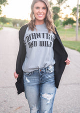 Wanted and Wild Graphic T-Shirt -Gray, CLOTHING, BAD HABIT APPAREL, BAD HABIT BOUTIQUE