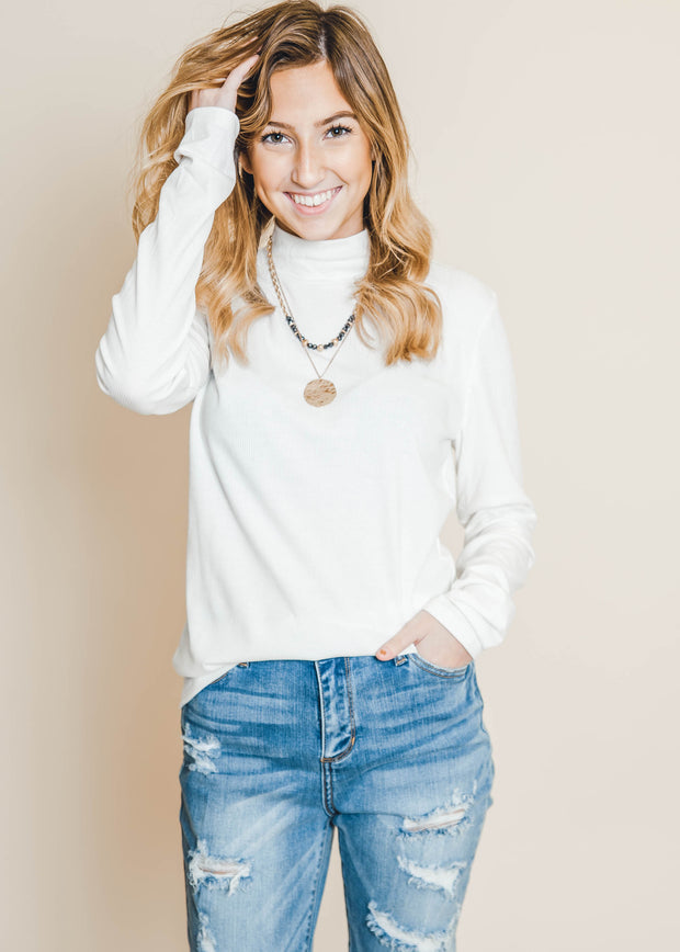 mock long sleeve rib knit top in ivory