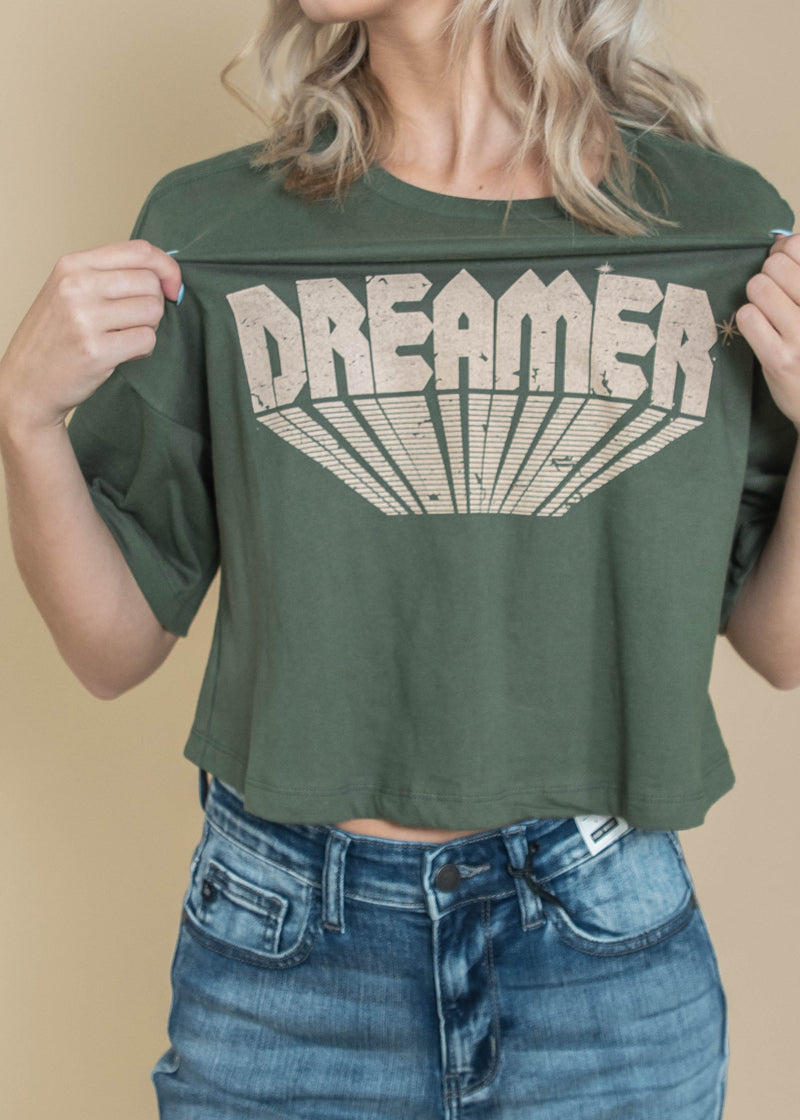 Dreamer Cropped Tee, CLOTHING, Bad Habit Appareal, BAD HABIT BOUTIQUE