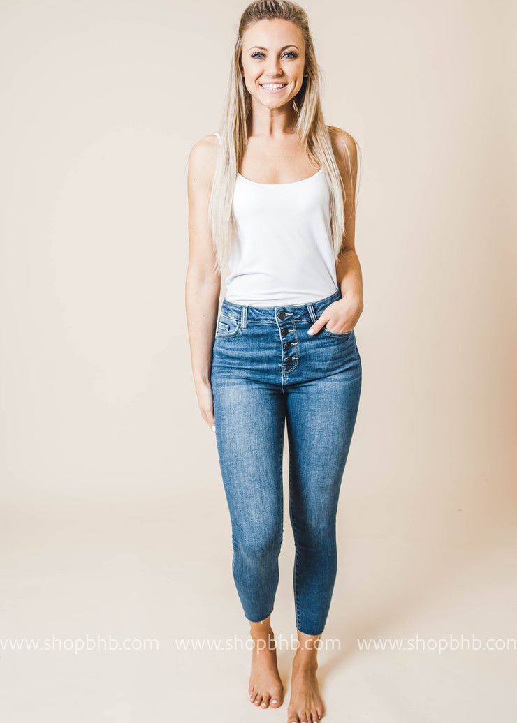 High Rise Exposed Button Crop Skinny