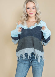 Miracle v-neck frayed sweater
