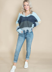 shades of blue distressed sweater