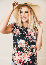 floral short sleeve top black