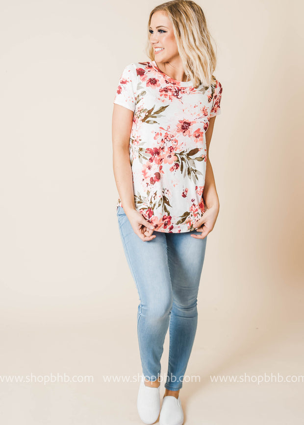 floral short sleeve top ivory black