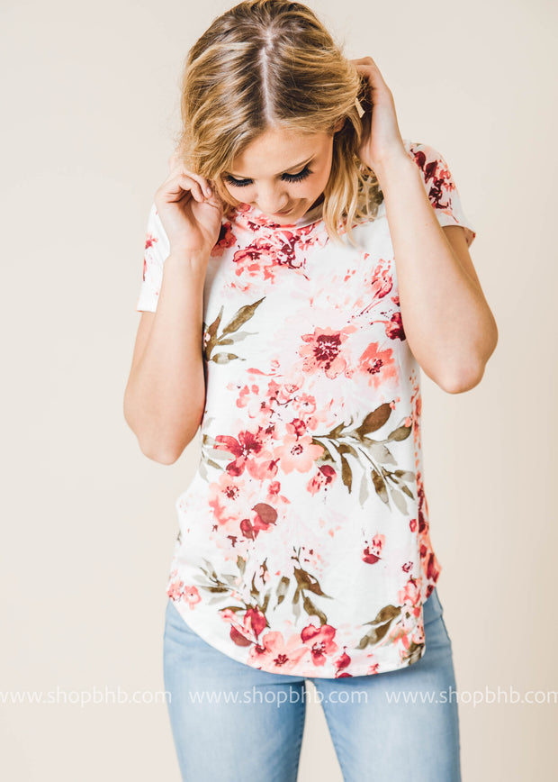floral short sleeve top ivory