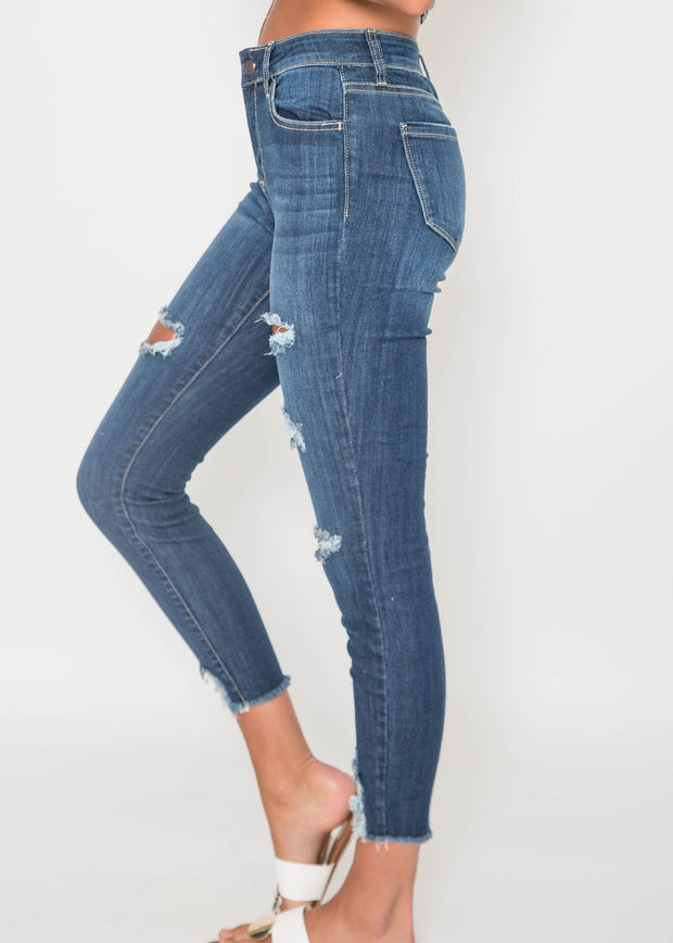 Mid Rise Dark Wash Destroyed Crop Skinny - CELLO, CLOTHING, CELLO JEANS, BAD HABIT BOUTIQUE