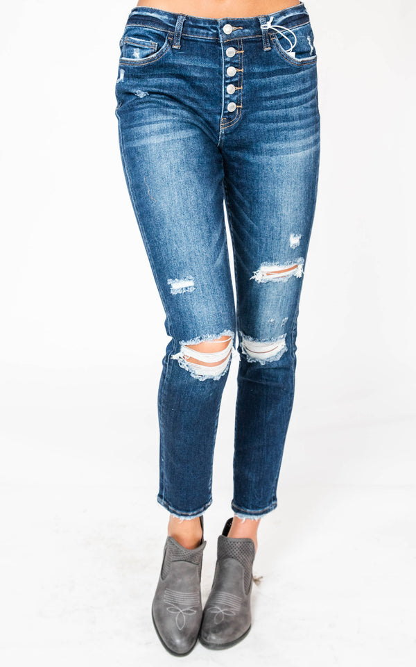 Mid Rise Button Fly Distressed Dark Wash Ankle Skinny Jeans - Vervet, CLOTHING, Vervet, BAD HABIT BOUTIQUE