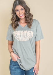 light olive v-neck short sleeve dreamer graphic tee
