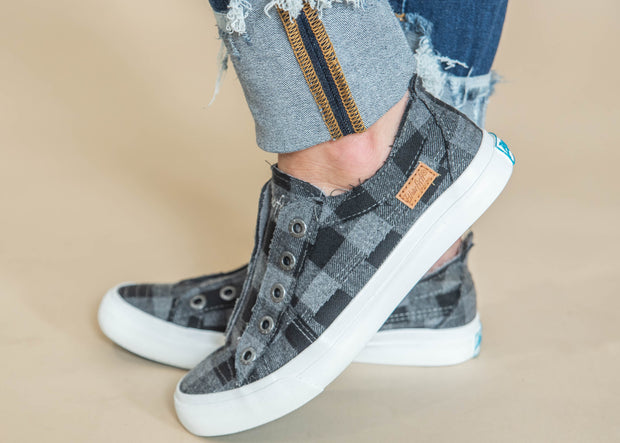 grey black plaid slip on sneaker