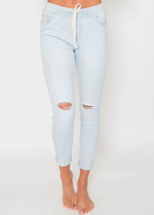 Denim Distressed Knee Joggers | FINAL SALE, CLOTHING, BAZI, BAD HABIT BOUTIQUE