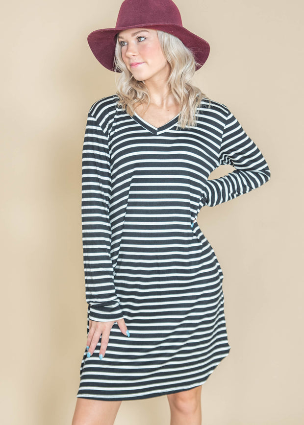 black white striped long sleeve dress