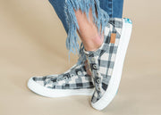 white black buffalo plaid slip on sneaker