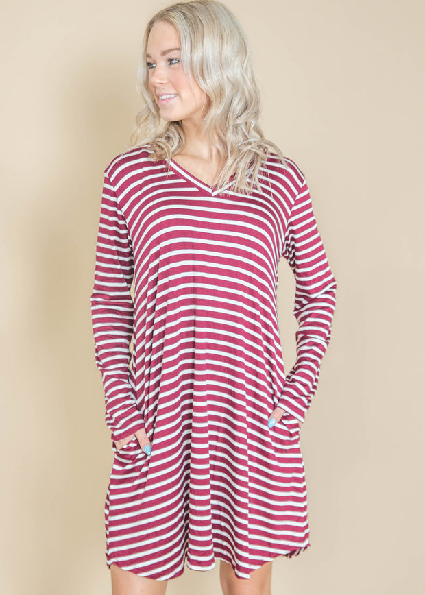 wine stripe dress
