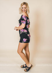 floral romper flounce off the shoulder black