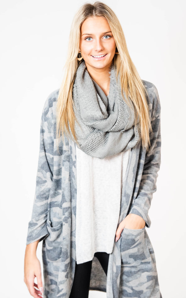 Brushed Camo Duster Cardigan, CLOTHING, Cherish, BAD HABIT BOUTIQUE