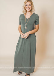light olive v-neck maxi dress