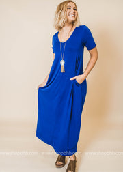 denim blue v-neck maxi dress