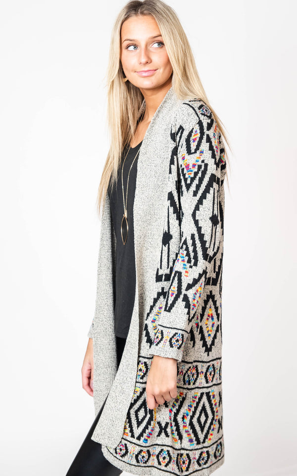 Aztec Rainbow Jacquard Duster Cardigan, CLOTHING, On Blue, BAD HABIT BOUTIQUE