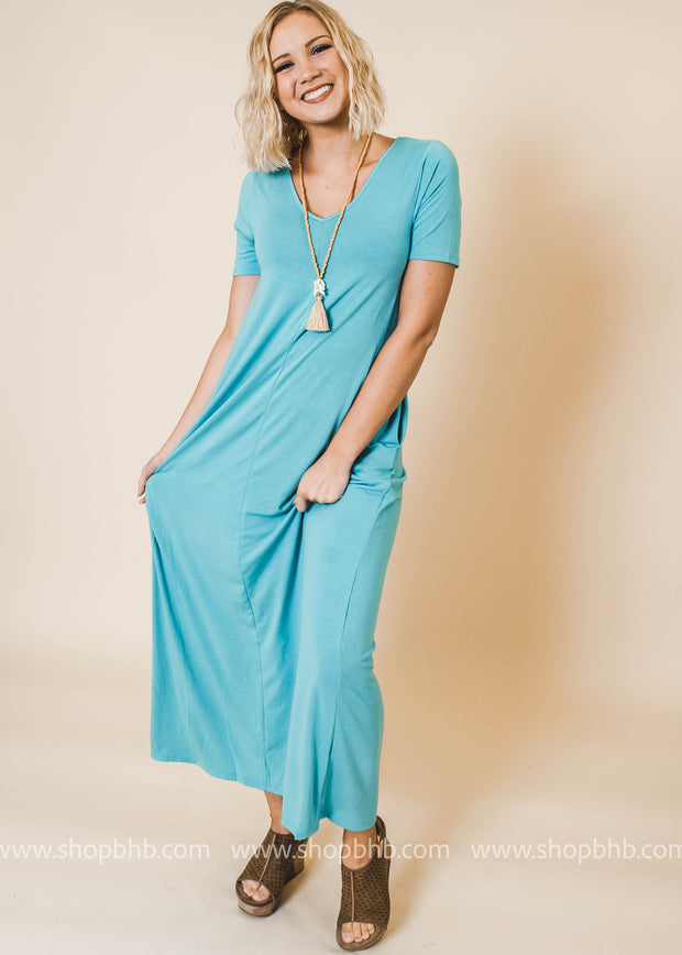 ash mint v-neck maxi dress