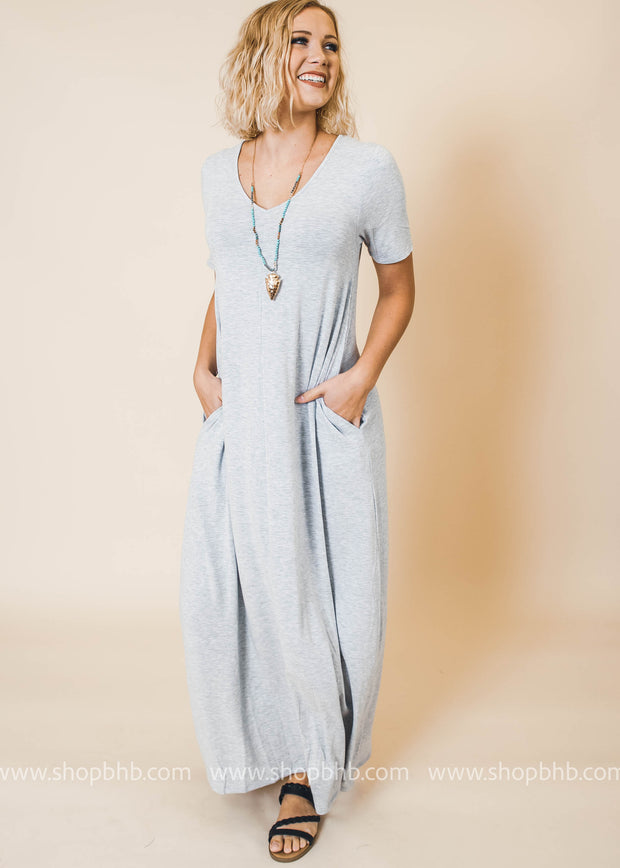 heather grey v-neck maxi dress