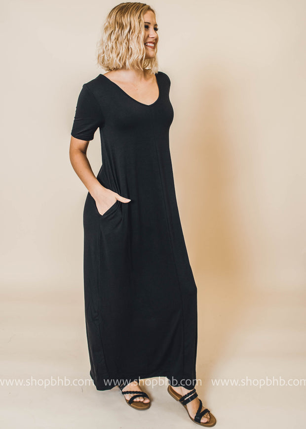 black v-neck maxi dress