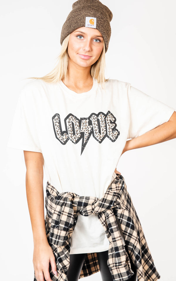 LOVE Band Tee with Lighting Bolt, CLOTHING, BAD HABIT APPAREL, BAD HABIT BOUTIQUE