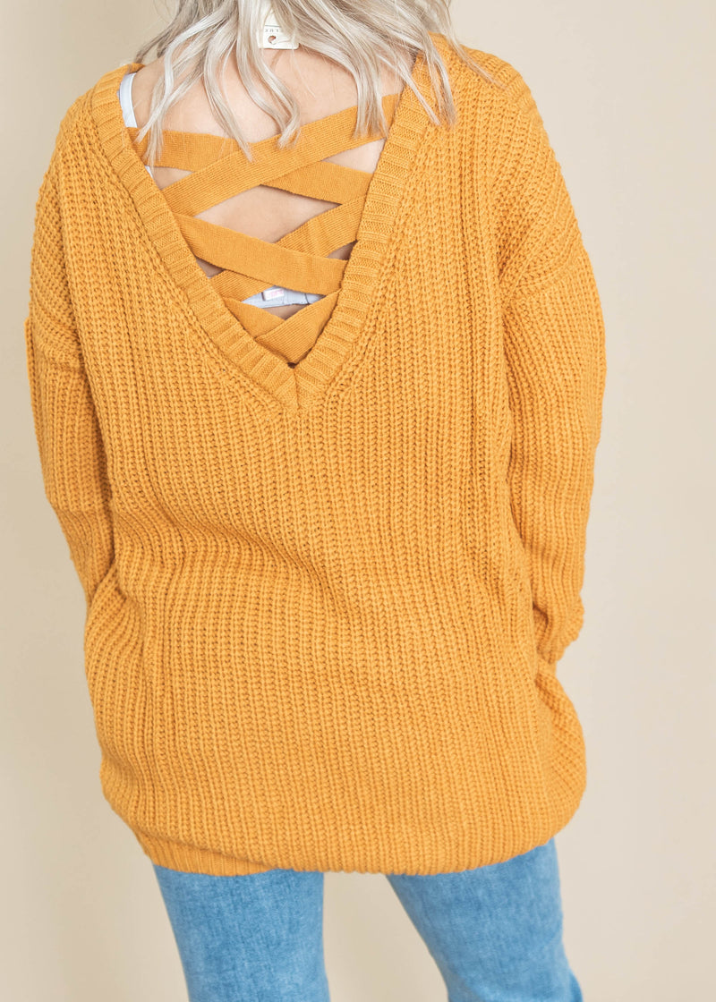 CHUNKY KNIT LACE UP BACK VNECK SWEATER, CLOTHING, Cozy Casual, BAD HABIT BOUTIQUE
