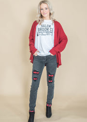 buffalo plaid patch denim Fall outfit