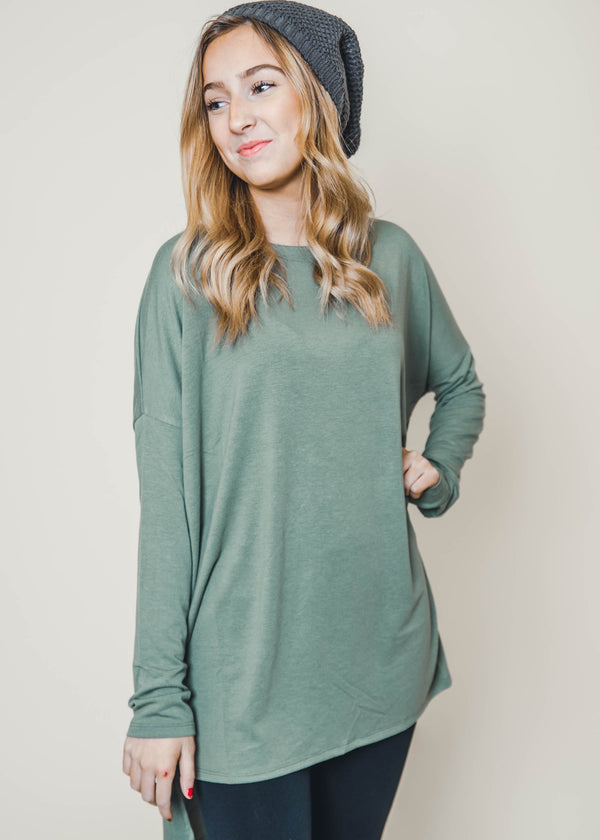 Dolman Long Sleeve High Low Top - Final Sale, CLOTHING, Zenana, BAD HABIT BOUTIQUE