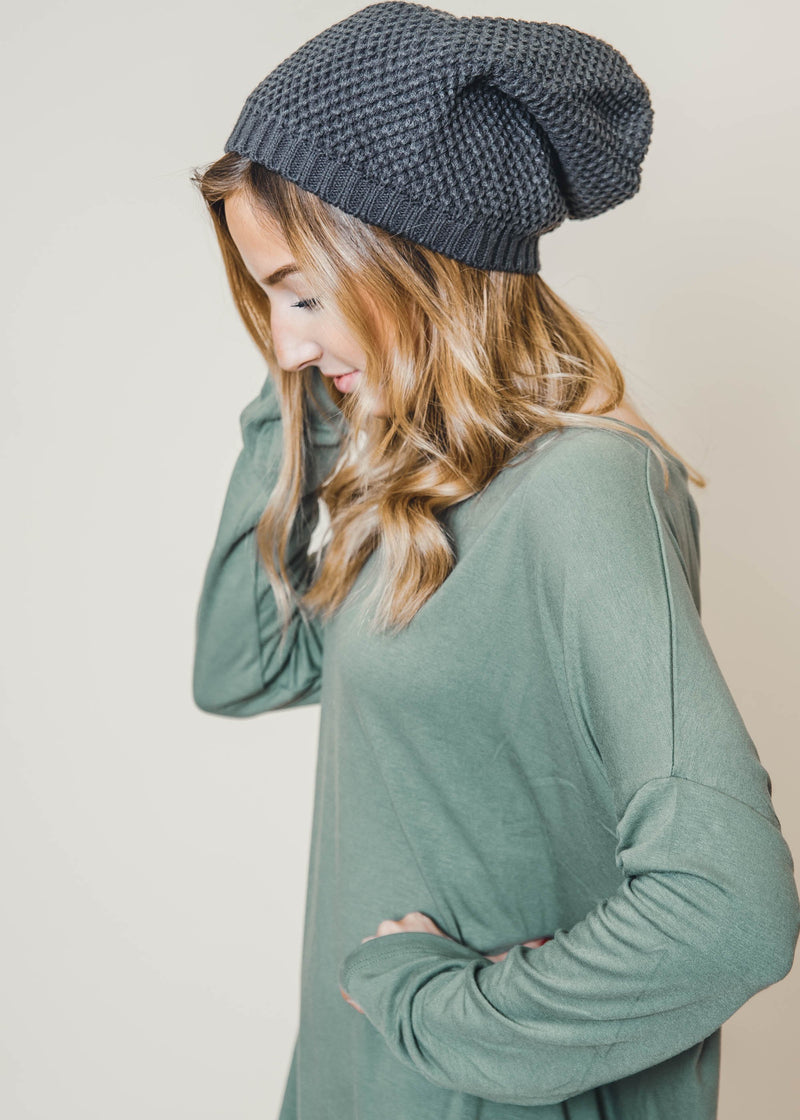 Waffle Knit Slouchy Beanie, ACCESSORIES, Leto, BAD HABIT BOUTIQUE