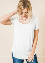 webbed criss cross top