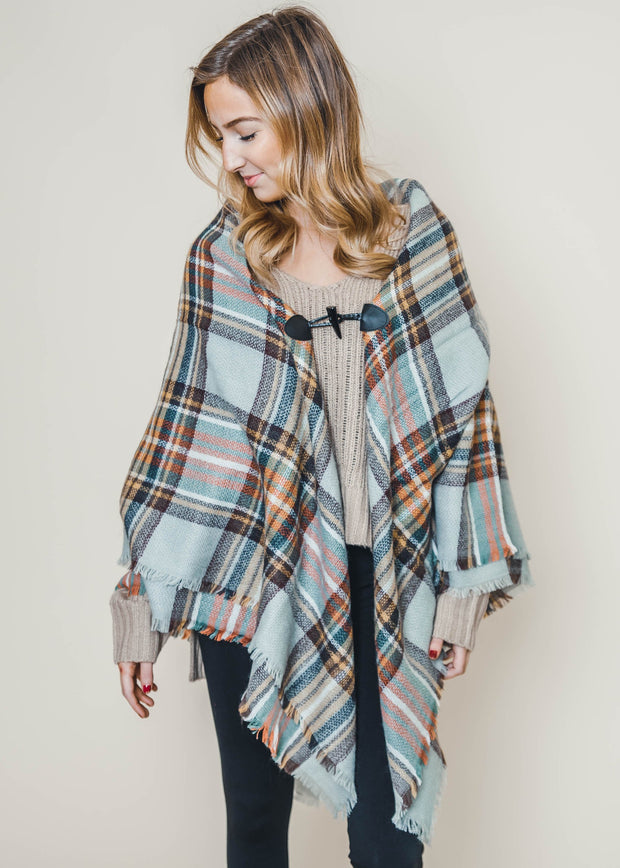 PLAID PONCHO, PLAID BLANKET SCARF, BLANKET SCARVES, PONCHOS, PLAID
