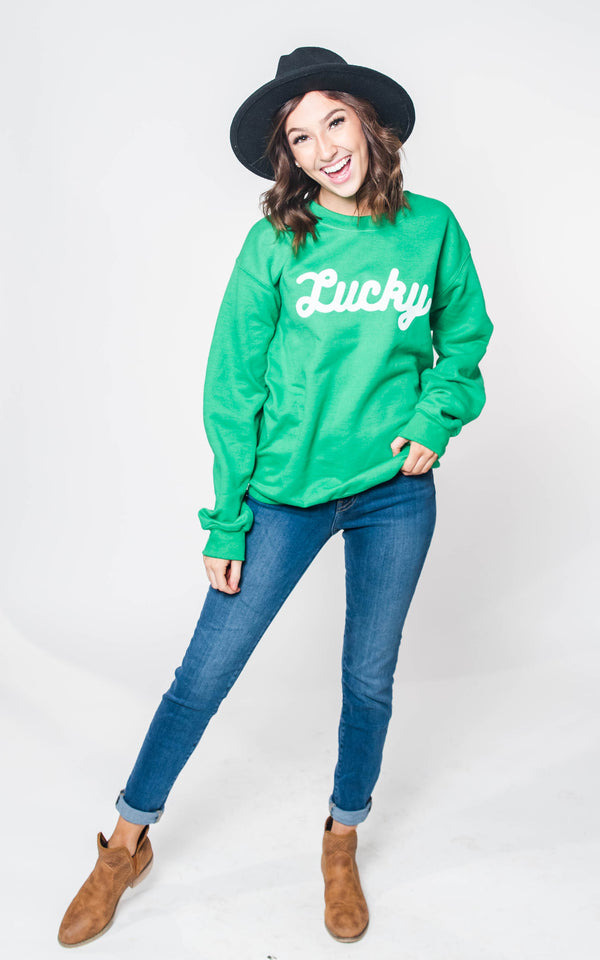 LUCKY Irish Green Crewneck Sweatshirt, CLOTHING, BAD HABIT APPAREL, BAD HABIT BOUTIQUE