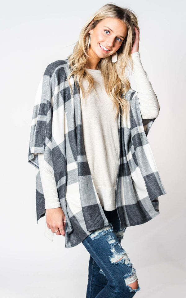 Plaid Poncho, CLOTHING, Cherish, BAD HABIT BOUTIQUE