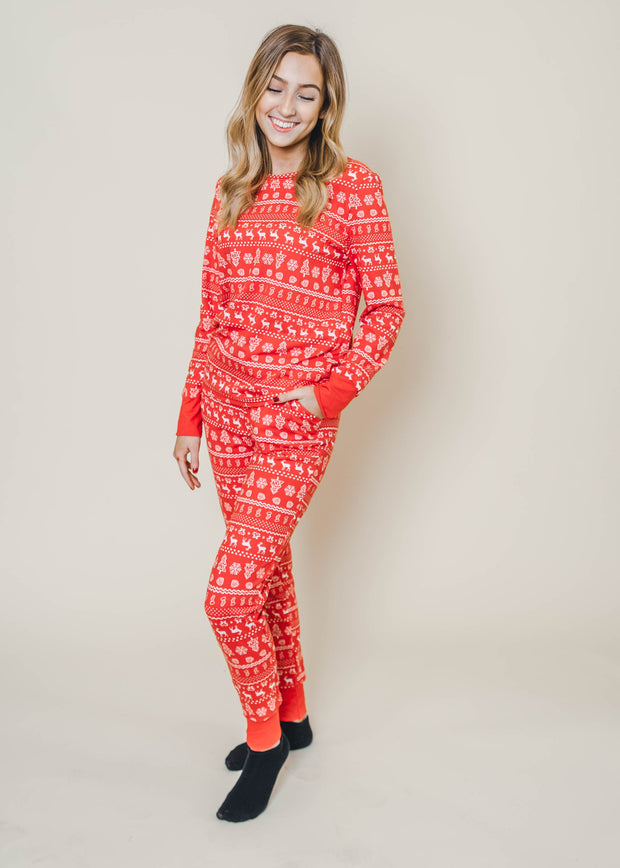red snowflake two piece pajama set, holiday pajamas, snowflake pajamas