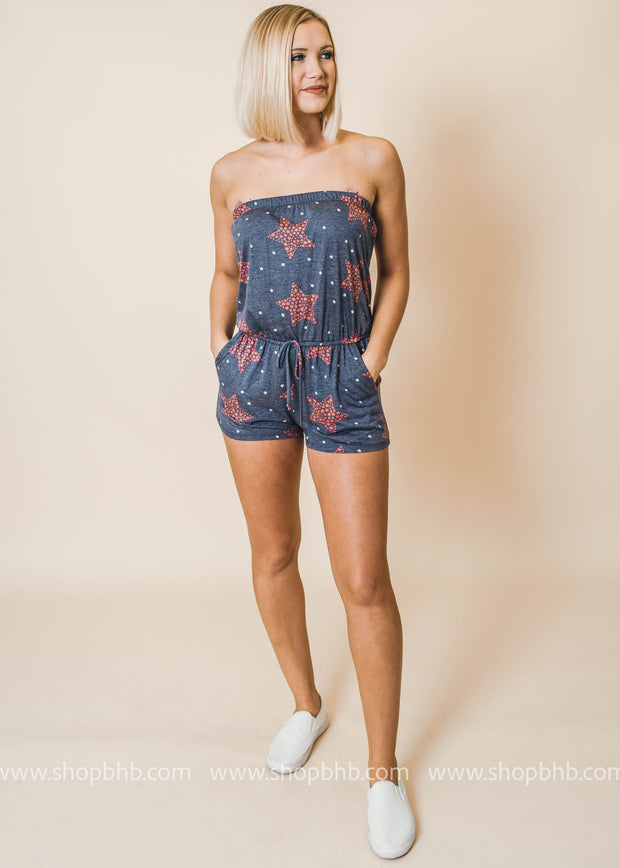 stars tube top romper navy red