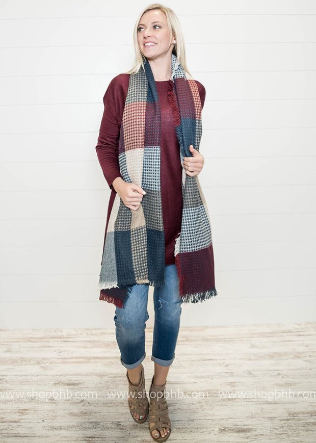Colorblock Plaid Blanket Scarf, SCARVES, LETO, badhabitboutique