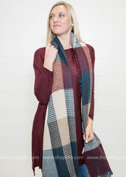 Colorblock Plaid Blanket Scarf, SCARVES, LETO, BAD HABIT BOUTIQUE