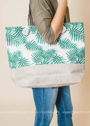 Palm Leaves Colorblock Tote