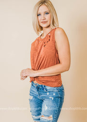 rust distressed tank top