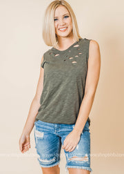 olive distressed tank top