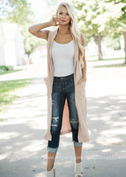 Long Taupe Cardigan- FINAL SALE
