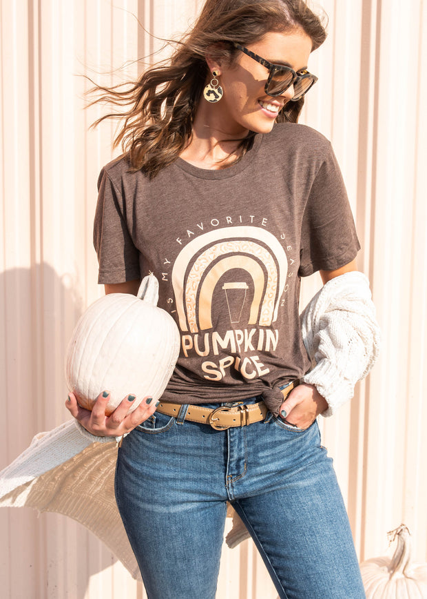 pumpkin spice rainbow brown t-shirt