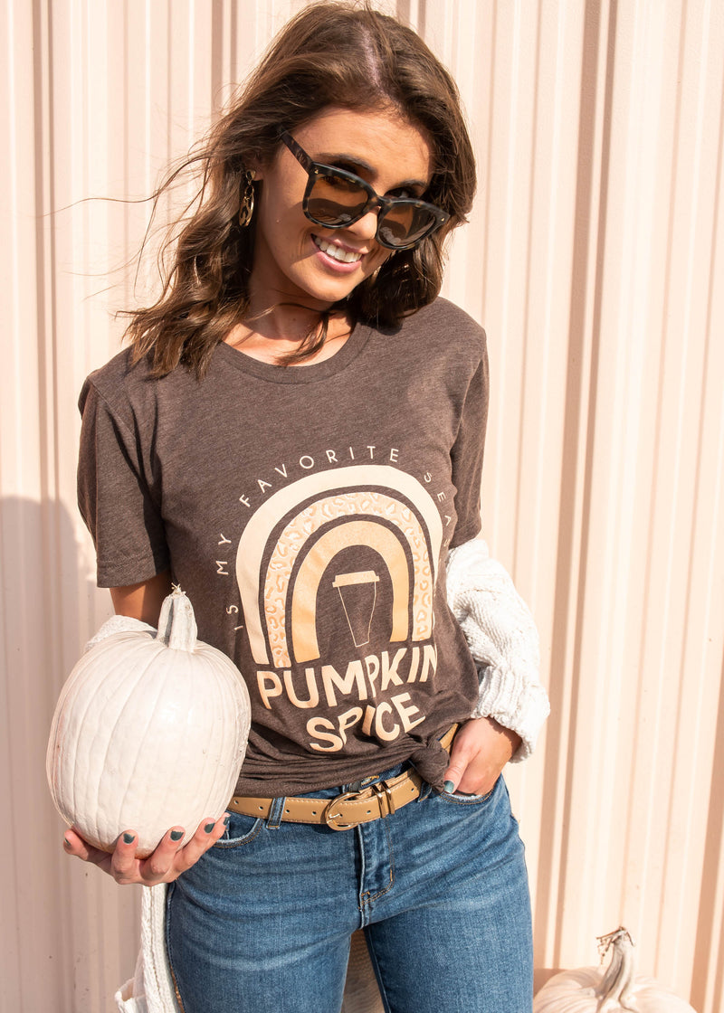 Taste the Pumpkin Spice Rainbow Tee- Heather Brown, CLOTHING, BAD HABIT APPAREL, BAD HABIT BOUTIQUE