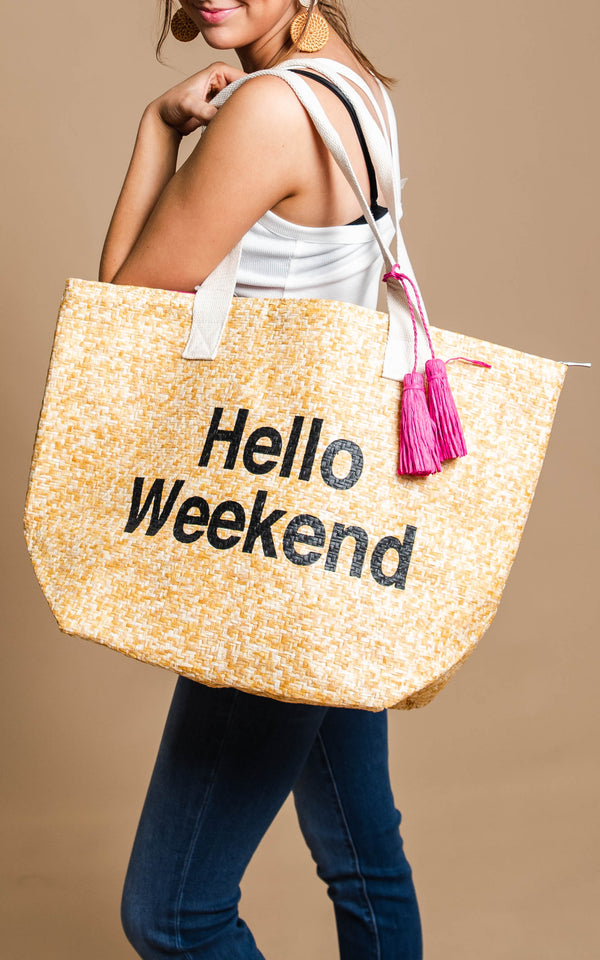 Hello Weekend Insulated Beach Tote - BAD HABIT BOUTIQUE