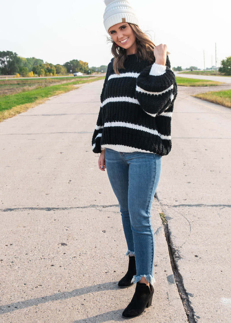 Striped Lantern Sleeve Sweater | FINAL SALE, CLOTHING, MIRACLE, BAD HABIT BOUTIQUE